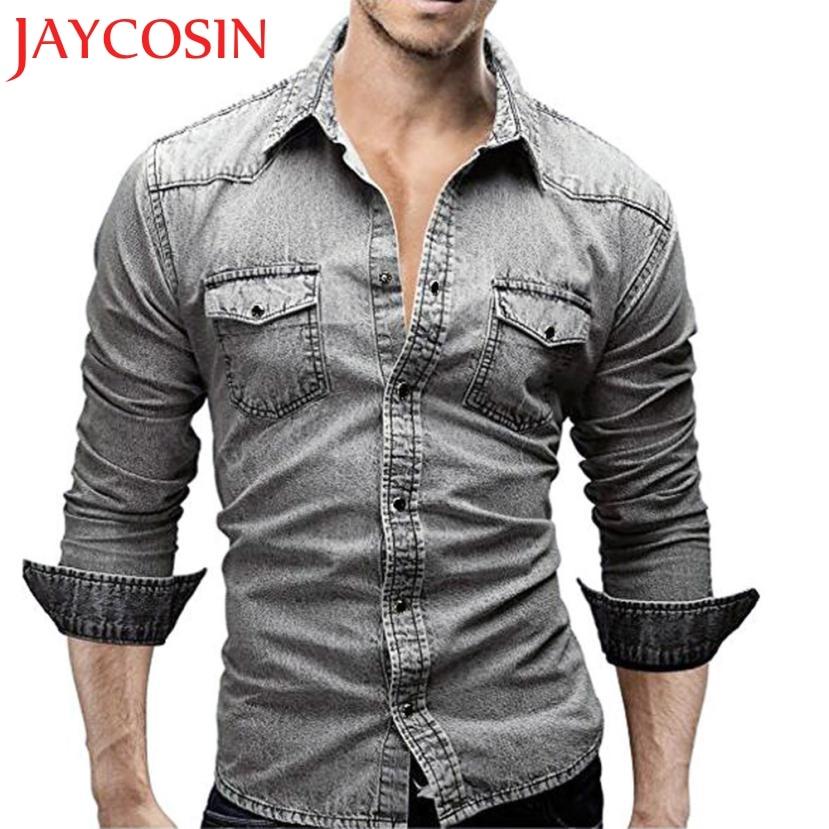 2018 Neue Klv Männer Shirts Retro Denim Hemd Cowboy Dünne Dünne Lange Tops Plus Größe L3 L4 Heißer Dropshipping L628 613 Elegante Form