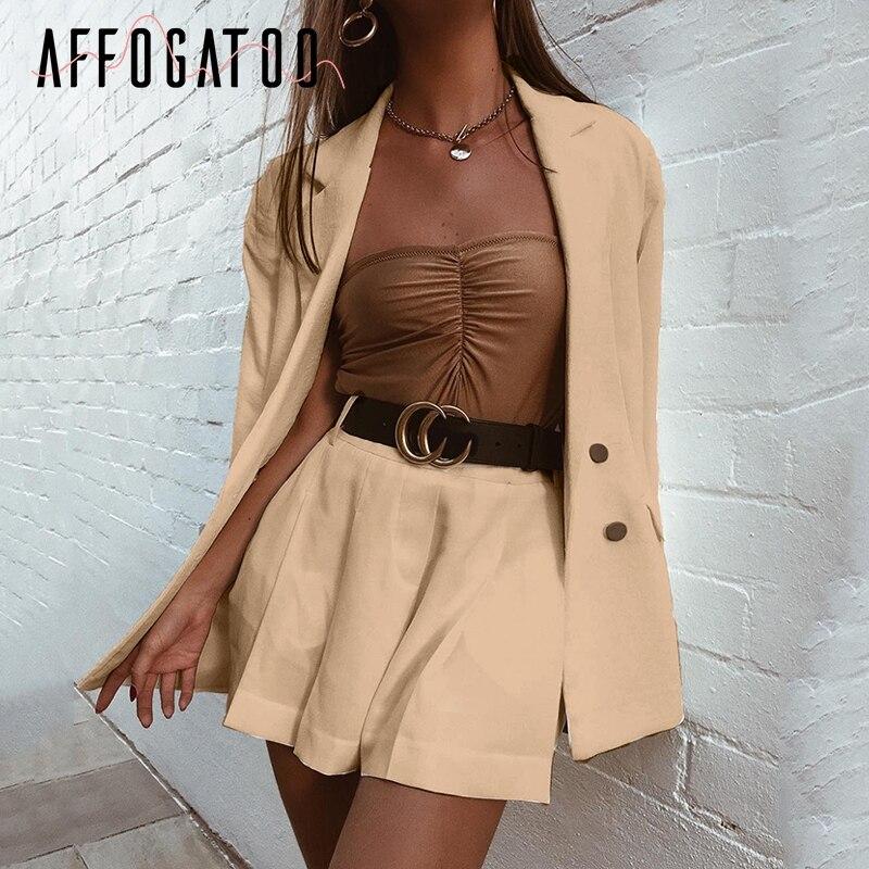 Affogatoo Elegant Two-piece Short Blazers Suit Women Casual Streetwear Suits Female Blazer Shorts Set Office Ladies Suits Coats