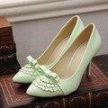 Новый Зрелые Черный Белый Светло-Зеленый Синий Катушка Высокие Каблуки Женщины Насосы Женская Обувь A8021-1