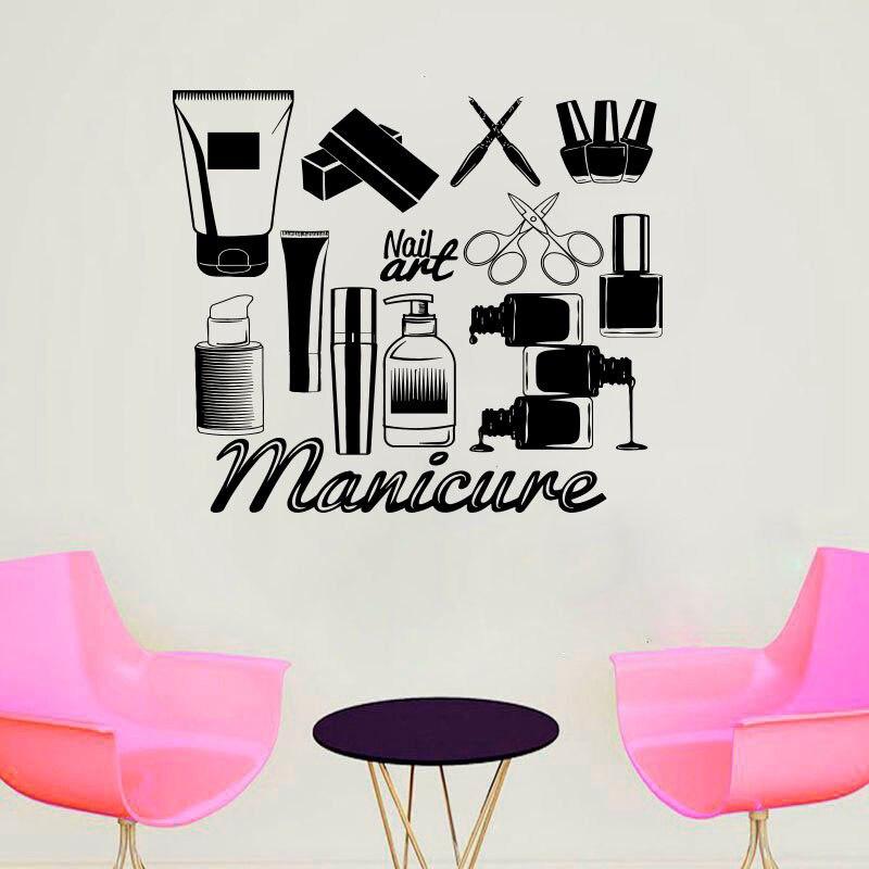 Manicure Shop Wall Sticker Nail Art Vinyl Wall Decal Mural Nail Art Sticker New