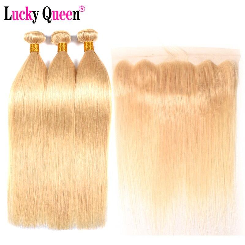 Brésilienne 613 Blonde Couleur Cheveux Raides 3 Bundles Avec 13*4 Frontale Remy Cheveux 100% de Cheveux Humains Livraison gratuite lucky Queen Cheveux