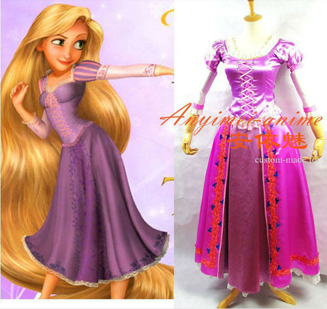 High Quality Custom made Beautiful Rapunzel Princess Cosplay Dress for Christmas Halloween Any Size Available