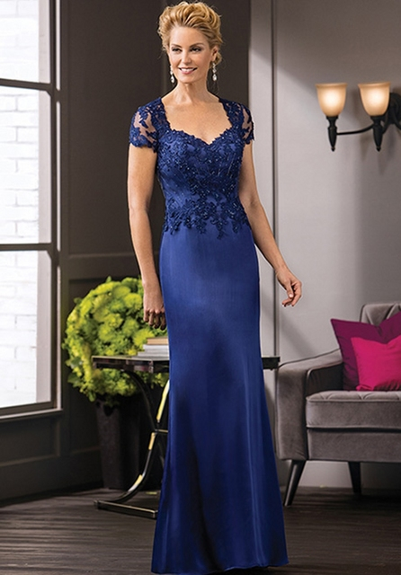 792466eeff89 Royal Blue Lace Mother of the Bride Dresses Satin Godmother Groom Mother  Dresses for Weddings vestidos