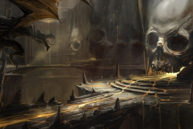 skull lava art cave a dragons dragon fantasy dark skulls cloth silk
