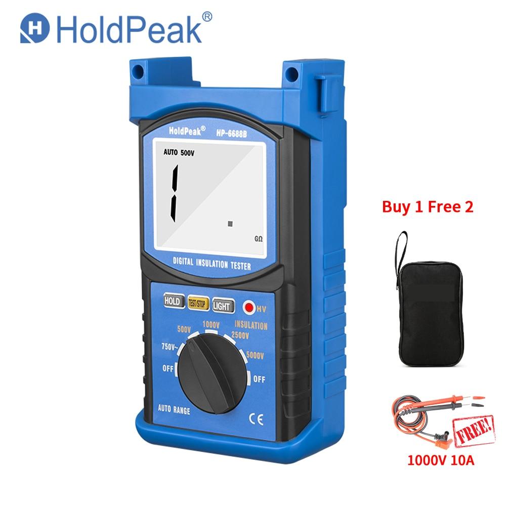 HoldPeak HP-6688B 6688B Résistance D'isolement Testeur 6688B Protable Numérique 1000 v 5000 v Auto Range ohm tester Megohmmètre CADEAU