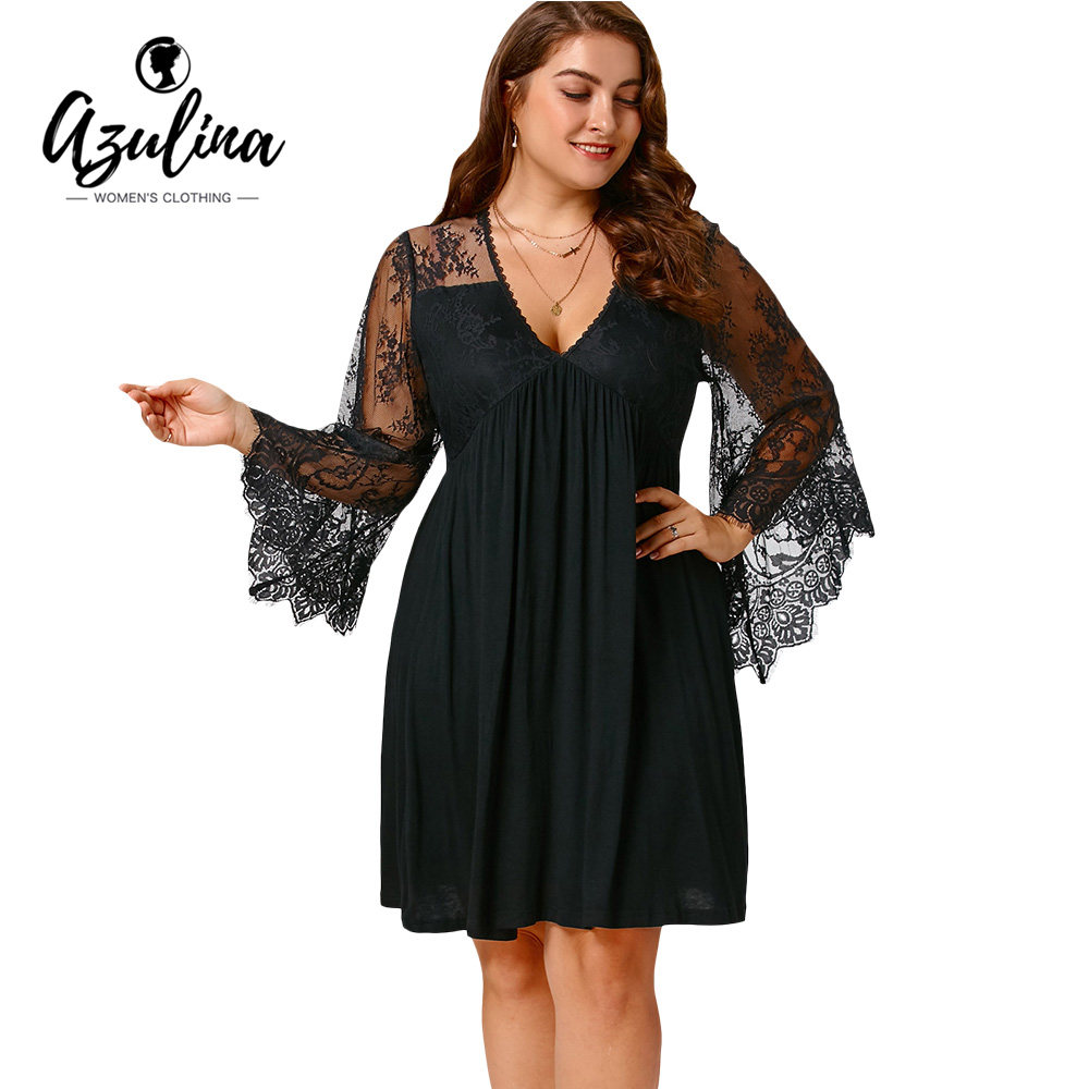 93fccc44a35 AZULINA Dress Women Plus Size 5XL Sexy Lace Flare Sleeve Empire Waist Tunic  Dresses 2018 Autumn