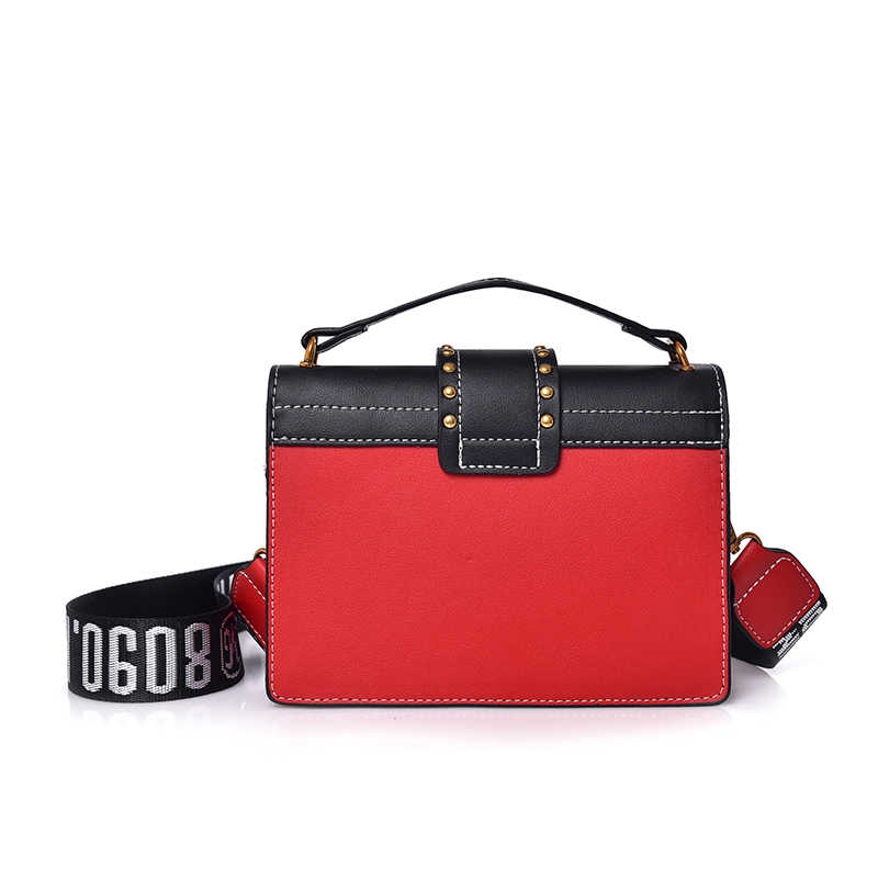0095ef9b1078 ... Fashion female Crossbody bag red PU leather women flap handbag 2018  rivet lion head decoration ladies ...