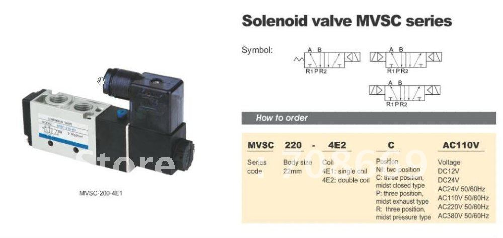 MVSC220-4E2C 12V DC 5Port 3Pos 1/4 BSP Solenoid Air Valve Dual Coil Led 10 pcs 4v220 08 dc 12v solenoid air valve 5port 2position