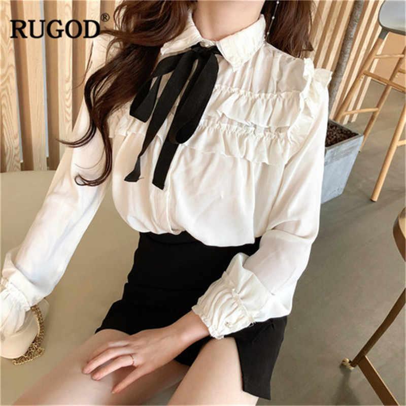 be5cdeef244 RUGOD Для женщин топы и блузки прелестные модные туфли галстук-бабочка  воротник рубашка с длинными
