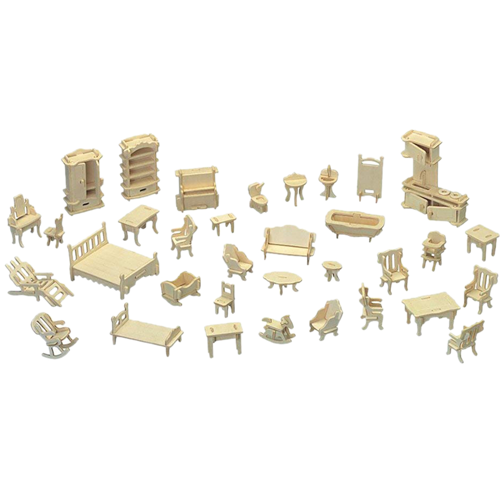 WOTT Wooden 3D Jigsaw Puzzle DIY Scale Miniature Models Doll House Dollhouse Furnitures Set Accessories