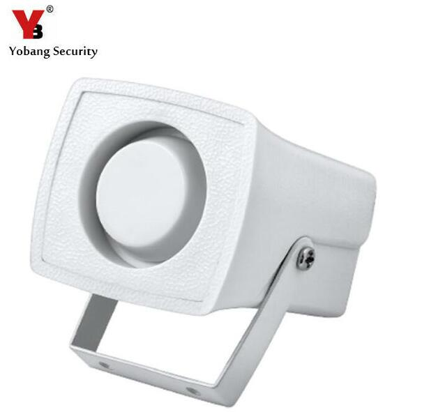 Yobang Security Wired Siren Horn 105dB Mini Electronic Wired Alarm Siren Horn for Security System DC12V Mini Wired Horn ms 490 ac 110v 220v 150db motor driven air raid siren metal horn double industry boat alarm