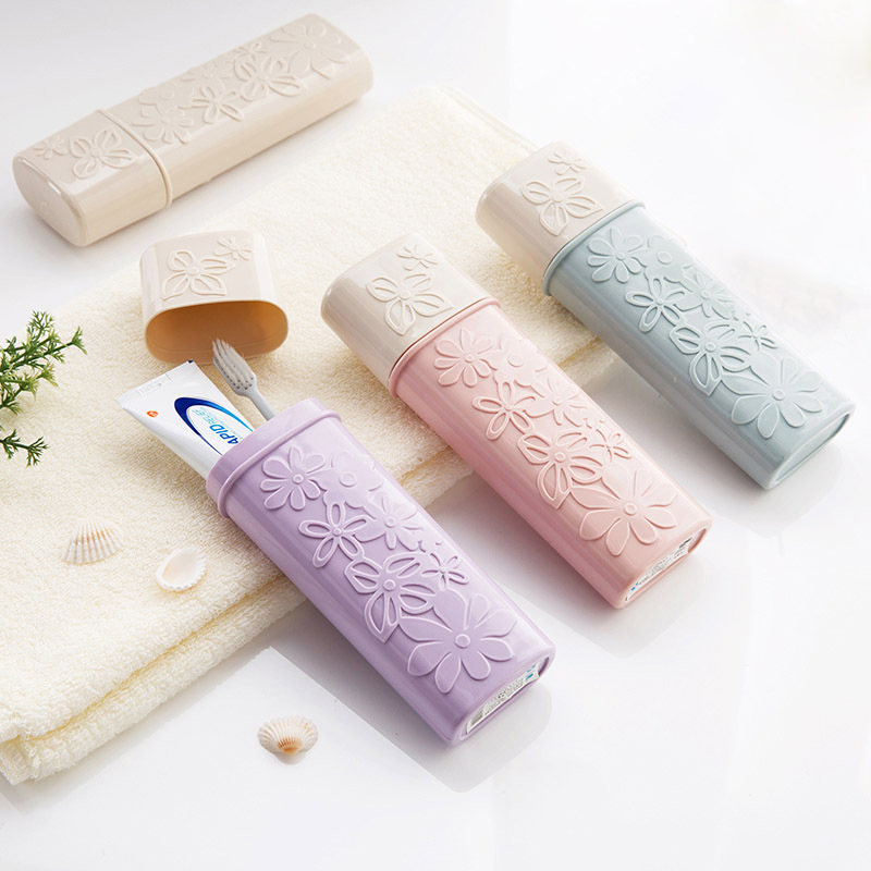 Portable Flower Carved Toothbrush Holder Outdoor Travel Hiking Camping Toothrush Cap Case Home Toothpaste Storage Box Wash Cup image