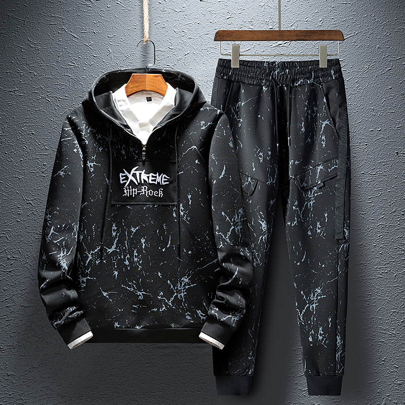Embroidery Hooded Men Set 2019 Autumn Mens sports suits Male sweatsuit and Long Pants tracksuit men Two-piece set Youth suit