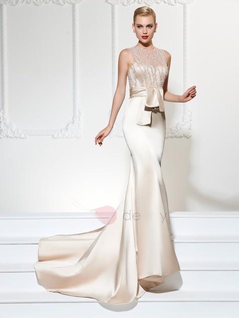 New Champagne Satin Evening Dresses Unique Beading Party Dresses Mermaid  Prom Dresses Long Social Occasions Dresses Custom 4233c00b0800