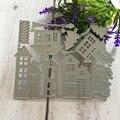 Трафаретный вырубной штамп Рождественский домик Скрапбукинг умирает Изделия из металла марки тиснение делая украшение для открыток
