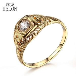Image 3 - HELON 固体 10 18k イエローゴールドラボ成長ダイヤモンド婚約リング 0.3CT Moissanites ヴィンテージ古典的な結婚指輪ジュエリーの女性のギフト