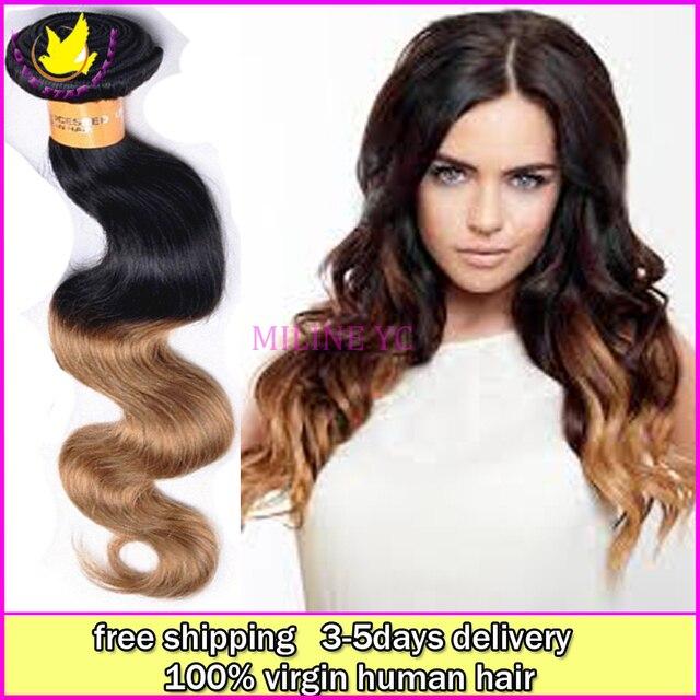 100 Brazilian Virgin Human Ombre Body Wave Remy Gold Weave Hair 6a Grade 4pcs Lot