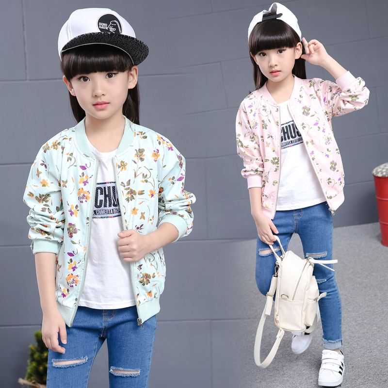 2017 Spring and Autumn Hot Fashion Children s Jacket 4 13 years old printed flowers wild