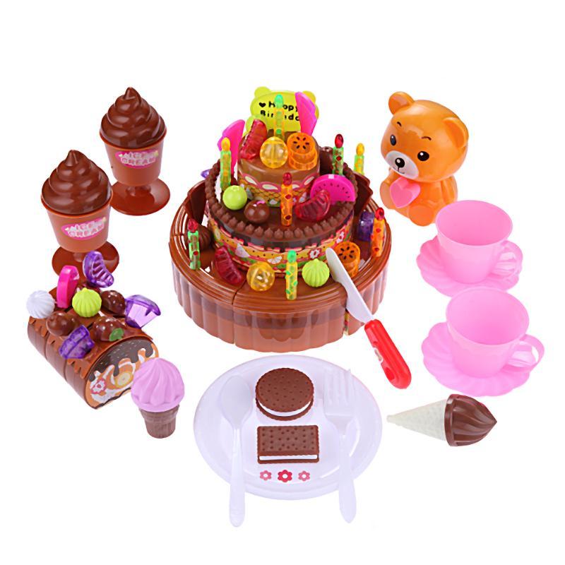 Simulation Birthday Cake Set DIY Music Bear 3 Layer Fruit Ice Cream Cake Kids Kitchen Pretend Play Toys Gifts for Children