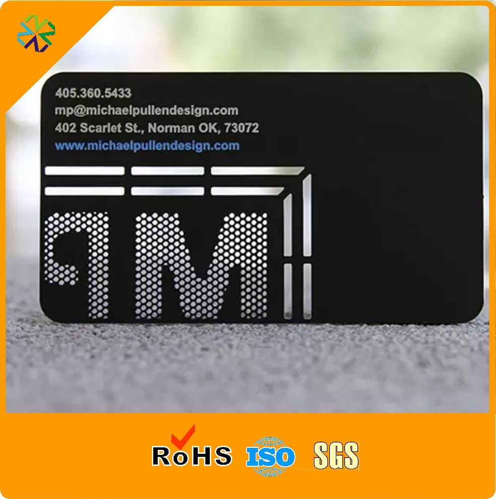 250pcslotLaser cut 304 stainless steel matte black printable laser cut matte metal business card silk printing plated print