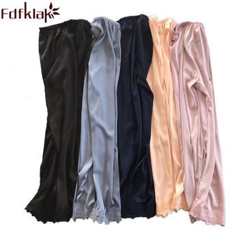 dda96d827 Fdfklak Women's Sleep And Lounge Wears Women Bottoms 2018 Summer New Faux  Silk Pajama Pants Black/Pink Sleeping Pants Q1134 - halazu review