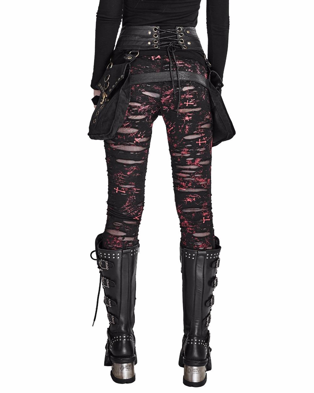 Legging Femme Tartan Rouge Carreaux Design Punk Goth-S à 4XL-taille LL0037