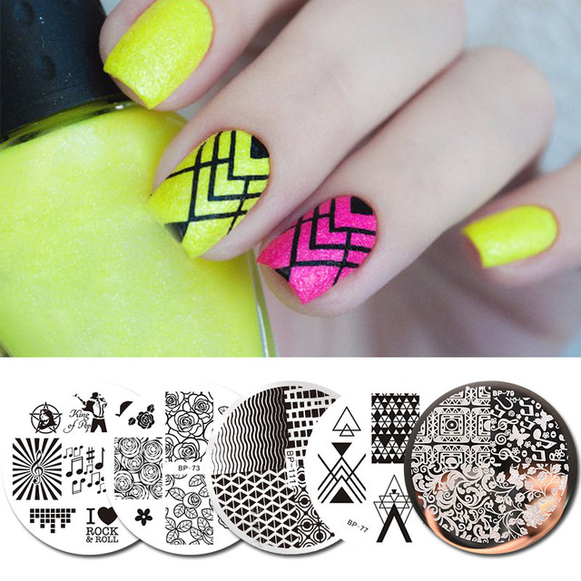 5Pcs Nail Stamping Template Rock Music Flower French Round Nail Art ...
