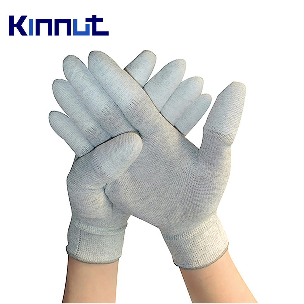 Kinnut 13 Gauge Carbon Fiber ESD Cleanroom White PU Coating Palm Anti Static Gloves Anti-static Coated palm/finger 10pairs/lot 1pair antistatic gloves anti static esd electronic working gloves pu coated palm coated finger pc antiskid for finger protection