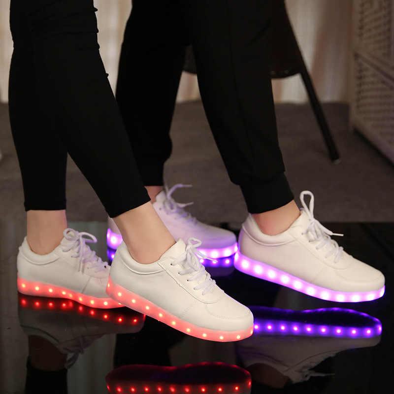 รองเท้าผ้าใบส่องสว่าง/USB รองเท้าเด็ก Light สำหรับเด็ก Boys & Girls ตะกร้า Led Enfant ปลูกรองเท้าผ้าใบ Tenis led Feminino 2545