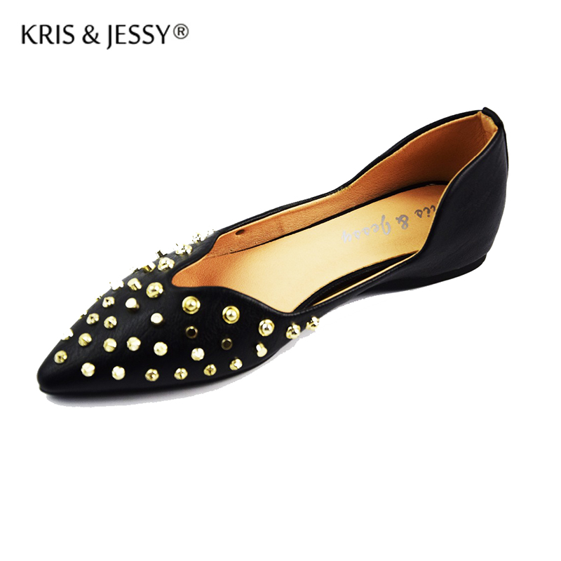 Kris & Jessy 2017 New Hot Sale Women Flat Ballets Shoes High Quality Rivets Point Toe Flats Big Size 36-40 Black hot sale new products for women s shoes flat sheet canvas shoes camouflage roses multicolor big yards 42