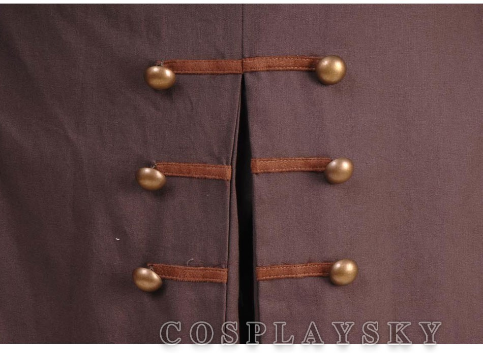 Pirates of the Caribbean Jack Sparrow Cosplay Costume Full Set_06