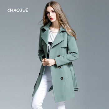 CHAOJUE Brand Office Lady Slim Double Breasted Pea Green Cashmere Coat British Elegant Stylish Woolen Coats Winter Overcoat Sale