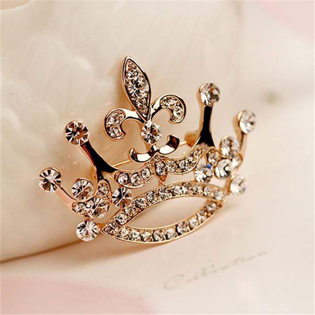 Fashion color crystal brooch luxury retro gold crown brooch for female zircon mosaic rhinestone pin