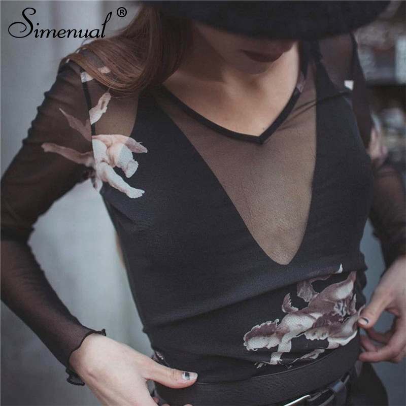 Aesthetic angel print mesh t shirts women long sleeve sexy hollow out crop top (1)