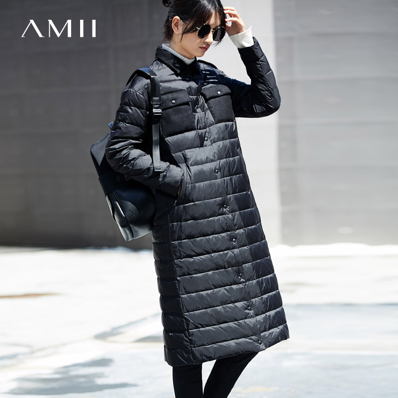 Amii Women Latest Casual Style Long Sleeve Loose 90% White Button Duck Down   Coat