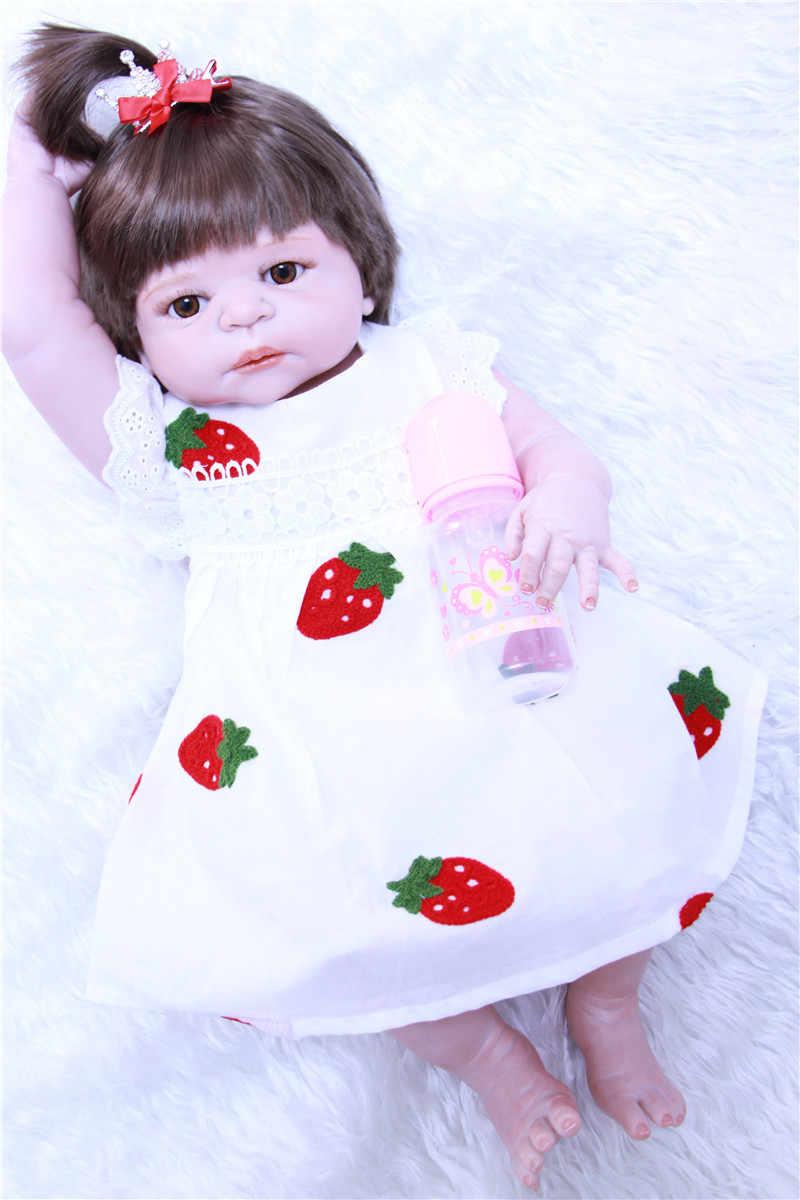 """55 см 22 """"reborn полный силиконовые куклы Bebe alive Новое милое платье с фруктовым принтом принцесса кукла рождественский подарок на день рождения bonecas игрушка"""