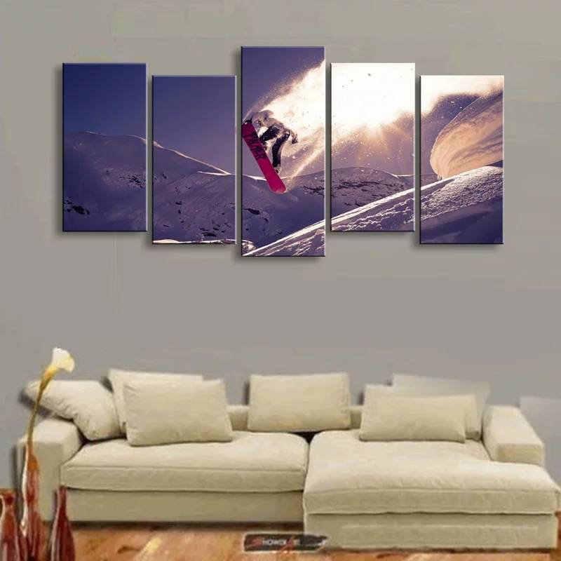 لوحة مطبوعة عالية الدقة مكونة من 5 قطع مطبوعة على قماش التزلج على الجليد ، طقم ألواح مقسمة على الثلج ، لوحات جدارية كبيرة