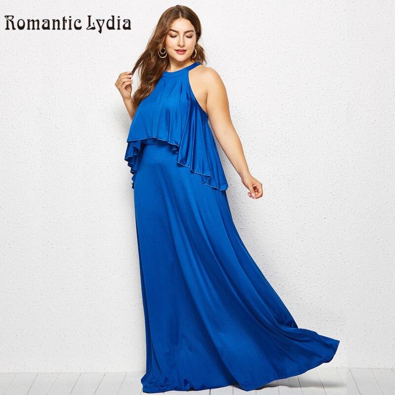 US $27.02 42% OFF|Plus Size 3XL 4XL Women Autumn Dress Vintage Loose Floor  Length Maxi Dresses Large Sizes Solid V Neck Halter Long Draped Dress-in ...