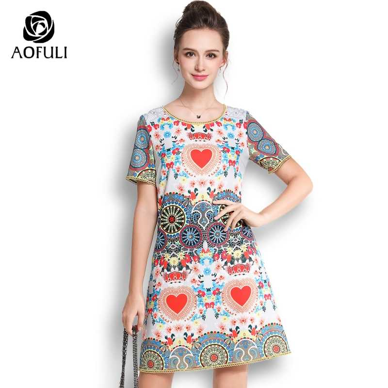 51612352d4f AOFULI Sicily Style Abstract Printed Dress For Women Big Size Short Sleeve  Casual Dress Fashion Brand
