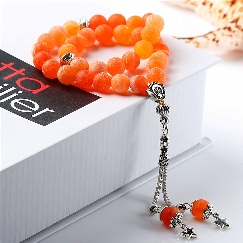Tasbih Pierres Agates 100% Naturel 33 Perles Orange