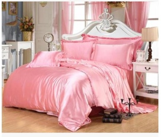Pink Gold Silk Bedding Set California King Size Queen Full Twin Quilt Doona  Duvet Cover Satin Fitted Bed Sheet Double Linen 6pcs In Bedding Sets From  Home ...
