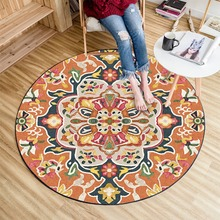 European Mandala Flower Series Round Carpets for Room Computer Chair Area Rug Ethnic style flower carpet mat