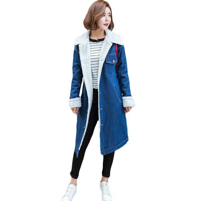 86926fdc85e Джинсовая куртка Для женщин негабаритных пальто Длинная парка Теплые  больших  размеров бархат утепленная верхняя одежда
