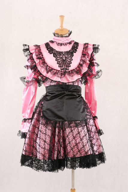 79e159058f0 Sexy Sissy Maid Pink Satin Dress Gothic Victorian Prom Dresses For Halloween