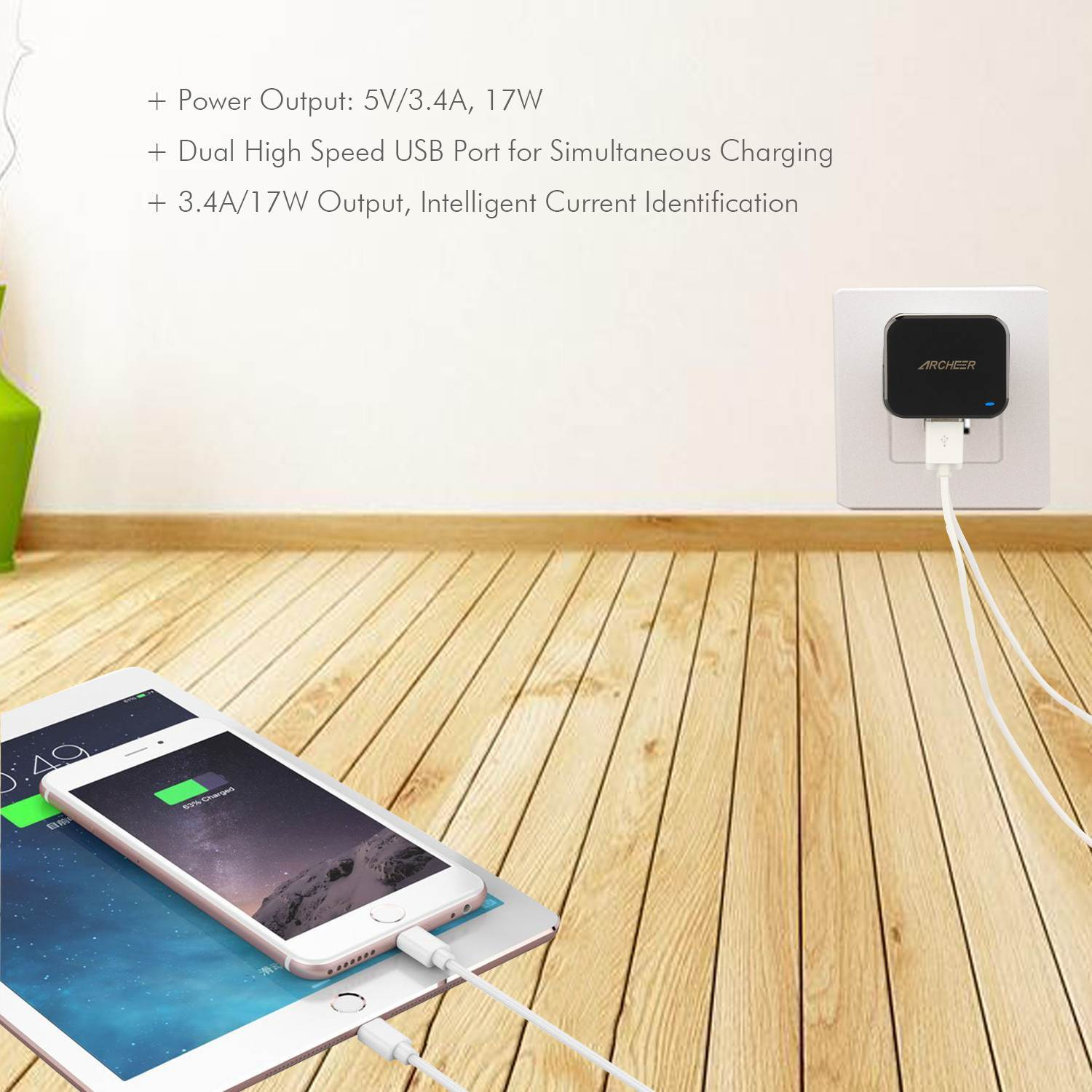 Brand Archeer Dual USB Wall Charger 17W 3.4A 2 port USB Charger Adapter Home Travel USB Charger For iPhone 6s 6plus