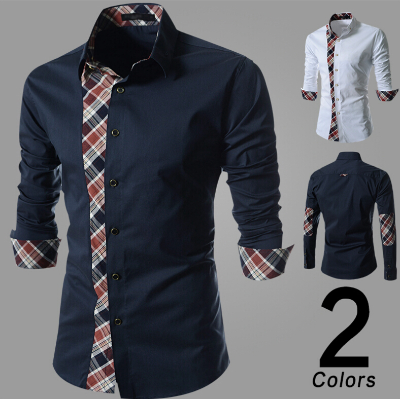 a6a1f4cd Free shipping 2015 Men's Casual Shirts Fashion Mens Leisure Long Sleeve Plaid  Male Design Shirt Men Clothing Tops-in Casual Shirts from Men's Clothing on  ...