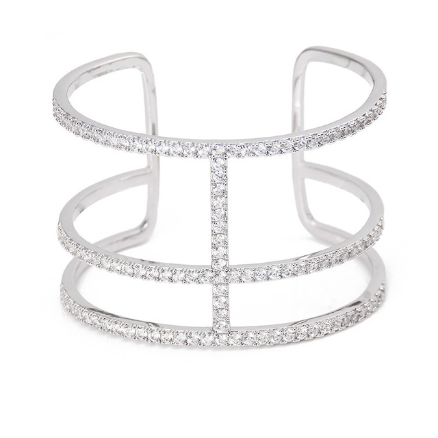Fashion Rhodium Plated Jewelry Pave Cut-Out H Bar Cubic Zirconia Wide Cuff Bangle Bracelets for Women
