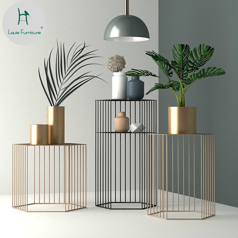 Louis Fashion Nordic Living Room Iron Art Tea a Few Geometric Fashion Corner Creative Large and Small Household Table Simple