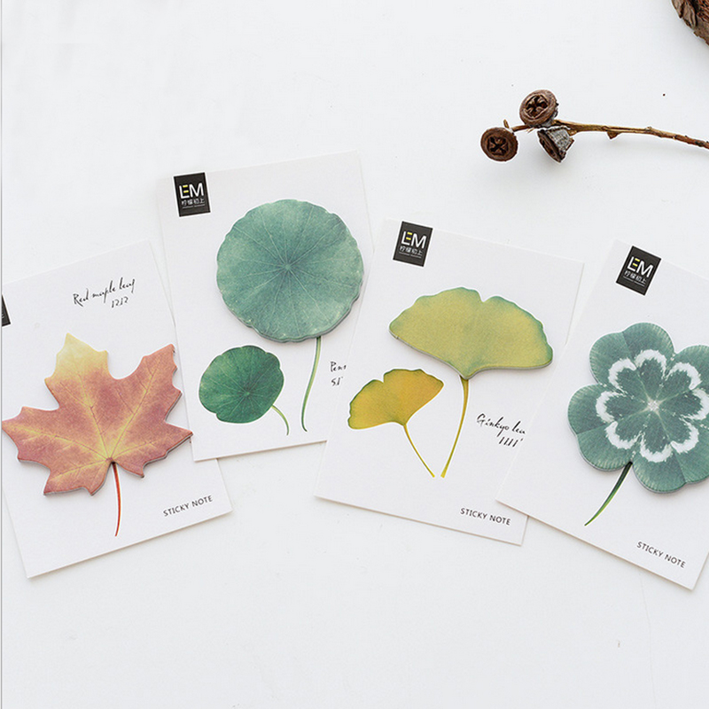 1X kawaii creative leaf Sticky Notes Post Memo Pad Korean stationery School Supplies Planner Stickers Paper Bookmarks