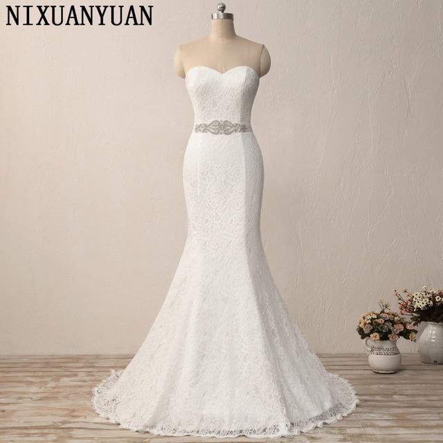 NIXUANYUAN New Elegant White Ivory Lace Wedding Gown Real Satin ...